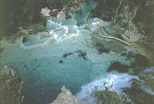 The clear blue pools below Havasu are a fovorite swimming hole.
